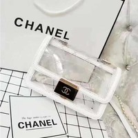 Chanel Fashion Women Jelly Bag Handbag Candy Small Transparent Cute Bags White I