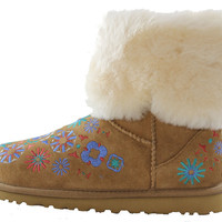 Authentic UGG Australia Embroidery Classic Mid Cuff Women's Chestnut Brown Shearling Fur Winter Boots 1002164