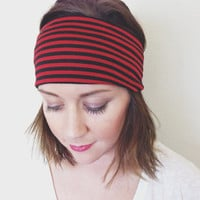 Red and Black Striped Stretch Wide Headband Boho Head Wrap
