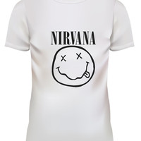 Unisex Nirvana Logo Pop Punk Rock White T Shirt Size S M L XL