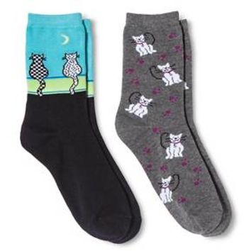 Davco Women's 2-Pack Fun Socks Alley Cats/Pals - Black One Size : Target
