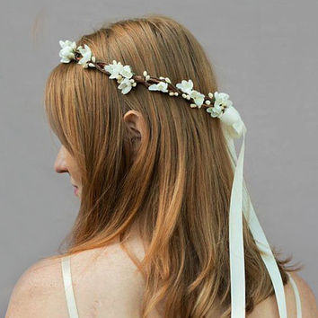 Simple Ivory Bridal Headpiece - Ivory Flower Crown, Bridal Flower Crown, Ivory White, Woodland, Flower Circlet, Wedding, Headpiece, Crown