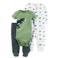 carter's® 3-Piece Babysoft Dino Footed Pant Set in Green