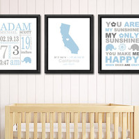 Baby birth details, personalized birth print blue, custom birth annoucements, baby name art, birth date print, nursery birth print set of 3