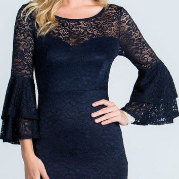Navy Blue Scoop Neck Lace Fitted Short Cocktail Dress with Bell Sleeves
