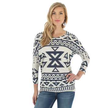 Wrangler Womens Western Fashion Long Sleeve Aztec Print Top