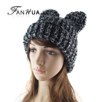 ICIKWQA Cute Bear Ear Knit Hat Autumn Warm Winter Ear Cap Female Tide Hats 4 Colors Warm Gift