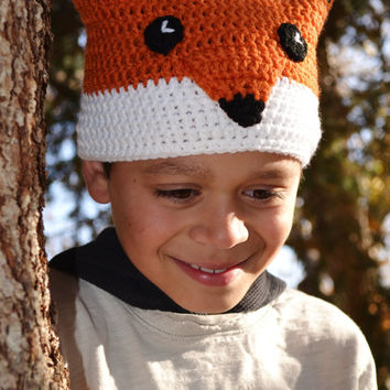 Crochet Fox Hat, Children's Crochet Beanie, Ready to Ship