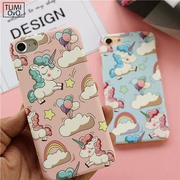 Cute Fashion Animal Unicorn Hard PC Case For iPhone 5 5s SE Back Phone Cover For iPhone 6 6s 7 Plus Pink Scrub Ultra Thin Cases