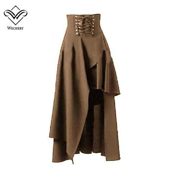 Wechery Sexy Long Maxi Steampunk Skirts Punk Midi Gothic Corset Skirt elasticity pleated Women Skirts Tulle Hot New Party Skirts