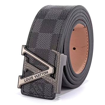 LV tide brand men and women embossed letter head simple wild smooth buckle belt Black check