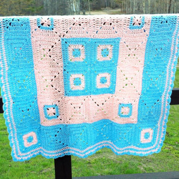 Blue Baby Blanket , Crochet Afghan , Granny Square Afghan ,  Blue And Peach, Boy Blanket, Baby Gift, Crib Blanket, Girl Blanket
