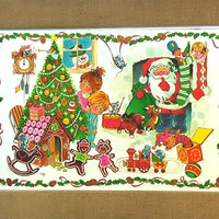 Vintage Christmas Thanksgiving Placemats for Kids 1970s Childrens Plastic Holiday Place Mats Set of 2