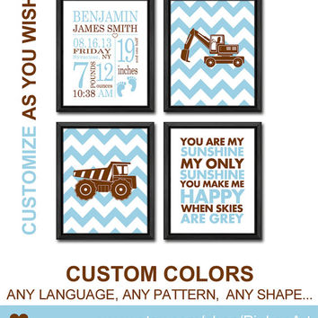 construction truck birth art print truck theme new baby decor baby stats birth stats birth date print personalized baby prints birth details