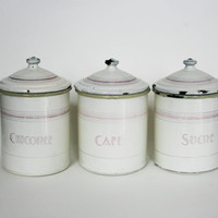 French enamelware, enamel pots, art deco kitchen jars, Japy canisters, French kitchen decor, French country, spice jars, shabby chic decor