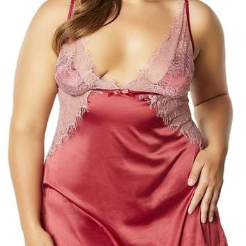 Sexy Swalla Plus Size Lace and Satin Open Back Chemise Set