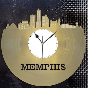 Memphis Skyline - Memphis Clock, Tenessee Cityscape Clock, Large Wall Art Clock,  Unique Wall Clock,  Birthday, Anniversary, Wedding Gift