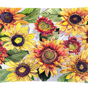 Sunflowers   Canvas Fabric Decorative Pillow