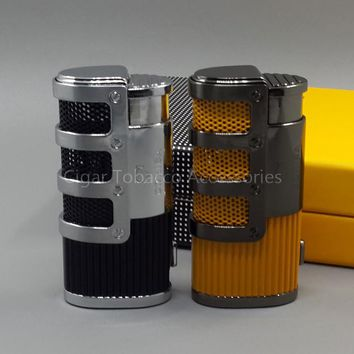 COHIBA Pocket Metal Butane Gas Windproof Triple Torch Jet Flame Cigar/Cigarette Lighter W/ Punch