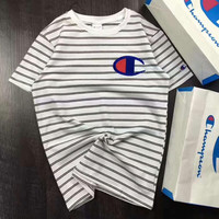 Champion stripe print couple short sleeve top tee T-shirt H-A-GHSY-1