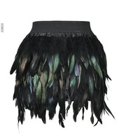 2016 Latest New Women Feather Mini Skirt Elastic Waist High Street Gradient Color Feather Mini Skirt Green Purple S M L XL