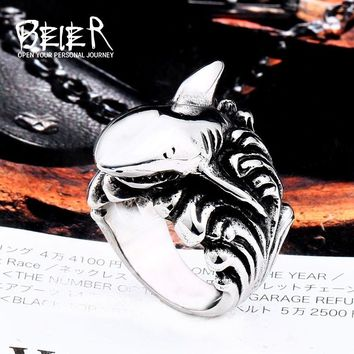 Beier new store 316L Stainless Steel Shark Men's Ring Spray marks High-quality jewelry LLBR8-564R