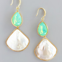Mint Shell Iridescent Earrings