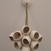 Porcelain cluster hanging light cluster of 11 by farrahsit on Etsy