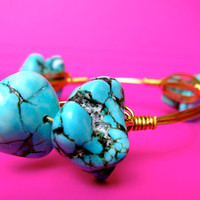 Ships Free! Big Turquoise Natural Stones Wire Wrapped Gold Bangle Bracelet (inspired by the popular Bourbon and Bowties) - gift