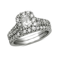 1-1/2 CT. T.W. Certified Radiant-Cut Diamond Bridal Set in 14K White Gold (H-I/I1)