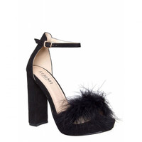 Sophia Black Suede Platform Fluffy Block Heels : Simmi Shoes