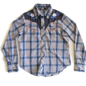 Vintage Plaid Womens Western Shirt with Flower Embroidery