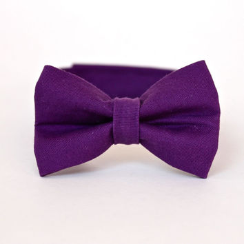 Boy's Bow Tie - Amethyst Purple Solid - Deep Purple Bowtie