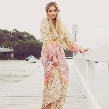 Colourful Bohemian Hippie Maxi Kaftan Dress Boho