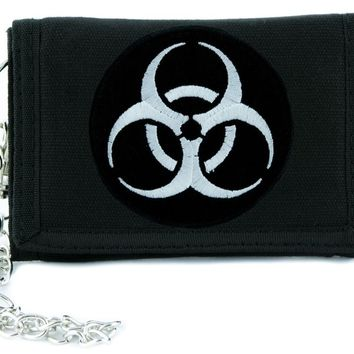 Toxic White Biohazard Sign Tri-fold Wallet Horror Clothing Zombie Apocalypse