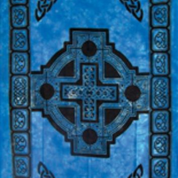 Celtic Cross Blue Vibrant Tapestries Wall Hanging Bohemian Beach Blanket Bed Covering Great Gift