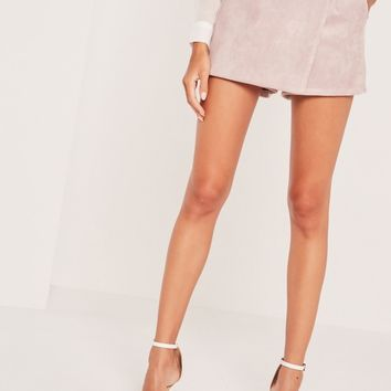 Missguided - Bonded Faux Suede Skorts Lilac