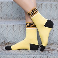Fendi Personality Fashion Short Socks for Men with Double F Letters
