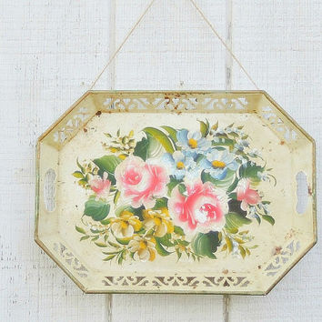 Vintage Shabby Cottage White Chippy Metal Tray, Handled Tray, Handpainted Tole
