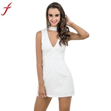 Promotion Women White Dress Halter V-Neck Sexy Sleeveless A Line Ladies Slim Party Evening Mini Dress for Office Ladies
