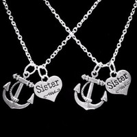 2 Necklaces Anchor Sister Sisters Gift Charm Necklace Set
