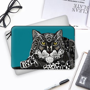 snow leopard teal blue Macbook Pro 13 sleeve by Sharon Turner | Casetify