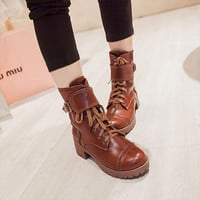 Sexy Round toe Women Ankle Boots Chunky Low Heels Lace Up Martin boots Spring Winter Shoes Platform Motorcycle Snow Boots C597