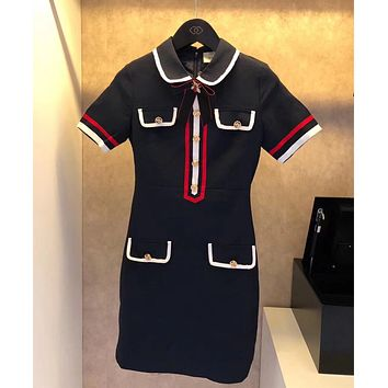 GUCCI Cotton dress with bow