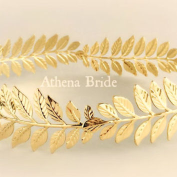 Gold Crown Leaves Athena Goddess Stefana