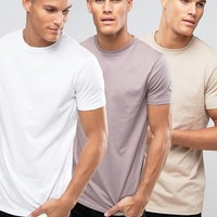 ASOS 3 Pack Longline T-Shirt SAVE 13% In White/Pink/Beige at asos.com