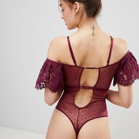 Lipsy Cara Lace Cold Shoulder Body at asos.com