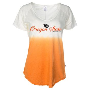 Official NCAA Oregon State University Beavers OSU Benny Beaver Women's Ombre Tie Dye Slub V-Neck T-Shirt