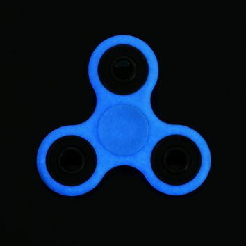 For Fidget Hand Spinner Toy Stress Reducer ,Spinner Finger Toy Glow in Dark with Ceramic Bearings for ADD, ADHD, Anxiety, and Autism Adult Children (Blue)