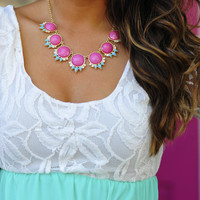 Stop In Your Tracks Necklace: Pink | Hope's